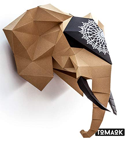 African Elephant Pre-cut Paper Sculpture Kit to assemble yourself Papercraft Egypt, 3D Puzzle DIY Assembly for decoration, Kraft Paper Quality Cardboard Thick and Ecological 100% Recycled - TOMAOK ()