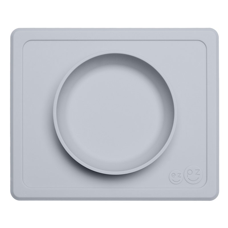 ezpz Mini Bowl - One-piece silicone placemat + plate (Pewter)