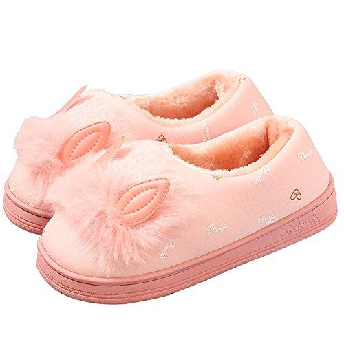 Damen Winter Warme Pantoffeln Hausschuhe Kuschelige Cat Ohr Plüsch Home Slippers Schlappen Schuhe Rosa