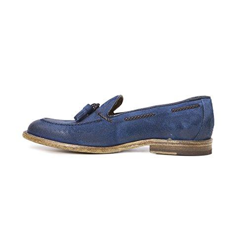 Uomo Calzature Bluette Nappine Cerata in in Bluette con Uomo Pelle Italiane Artigianali Italy Scarpe Mocassino Loafers Leather Colore Crosta Made vwRO0