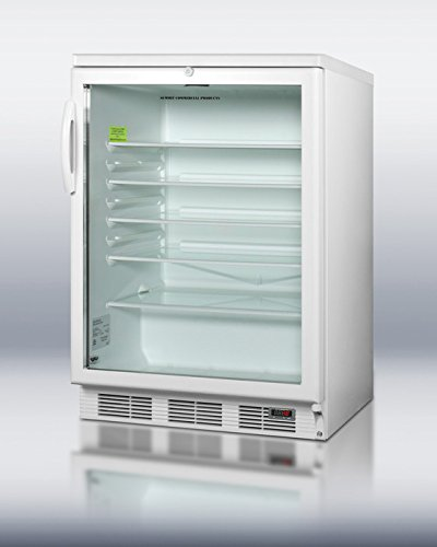 Summit Appliance SCR600LBIPUB Commercially Approved Built-in undercounter Glass Door Beverage Center for red Wine and ale Storage, with Digital Thermostat, White Cabinet, and Lock