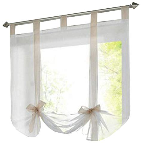 (HomeyHo Sheer Curtain For Bed Roman Curtains For Kitchen Windows Tab Top Curtains Sheer Curtain Decor Tie Up Curtains For Windows Liftable Sheer Curtain Girls, 24 x 55 Inch, Sand Ribbon)