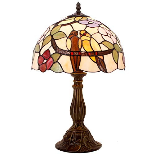 (Tiffany Table Lamp Stained Glass Double Tropical Birds Table Lamps Height 18 Wide 12 Inch for Living Room Antique Desk Beside Bedroom with Antique Style Zinc Base Sets S803 WERFACTORY)