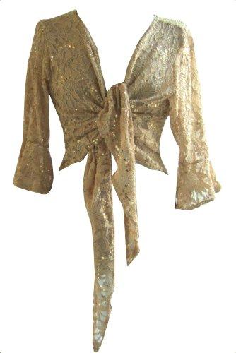 Gold Sparkly Sequin Lace Front Tie Evening Bolero Shrug. Size 18/20