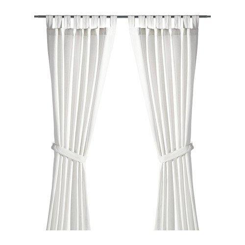 Ikea Curtains with tie-backs, 1 pair, bleached white 55x118