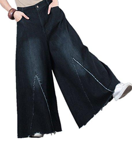 Distressed Flare Jeans (YESNO PF5 Women Casual Loose Denim Cropped Pants Distressed Flare Jeans Very Wide Leg Fringed Cuff Half Zipper Half Elastic Waist)