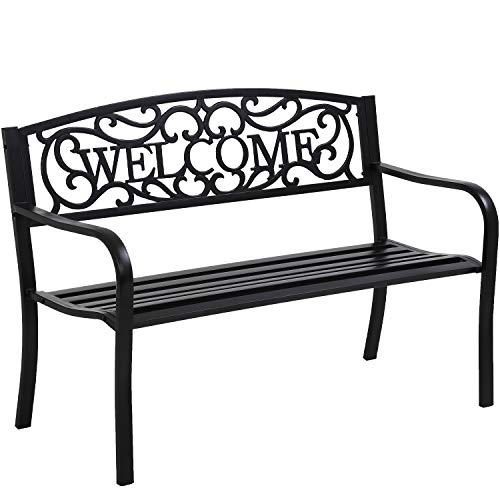 Garden Bench Outdoor Bench for Patio Metal Bench Park Bench Cushion for Yard Porch Work Entryway