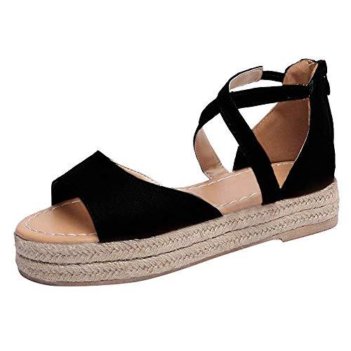 SNIDEL Women¡¯s Platform Sandals Peep Toe Flat Wedge Strappy Sandal Summer Casual Espadrille Shoes Black 7.5 B (M) US