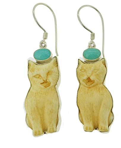 Cat Sitting Amazonite Sterling
