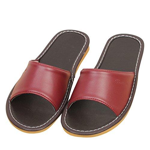 fereshte Couple Unisex Lightweight Microfiber Leathe Household Indoor Antiskid Slipper,Men Need 1-1.5 Size up Wine Red