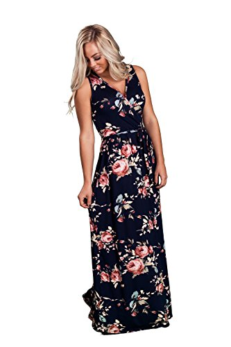 Inspire L' Amour Womens Sleeveless V-Neck Floral Print Front Tie Maxi Dress Navy Rose Large (Dress Print Satin Unique)