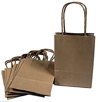 "Creative Hobbies® 24 Brown Small Paper Gift Handle Bags Approx. 5.25"" x 3"" x 8.5"" Size Shopper Wedding, 100% Recycled Paper, USA Made"