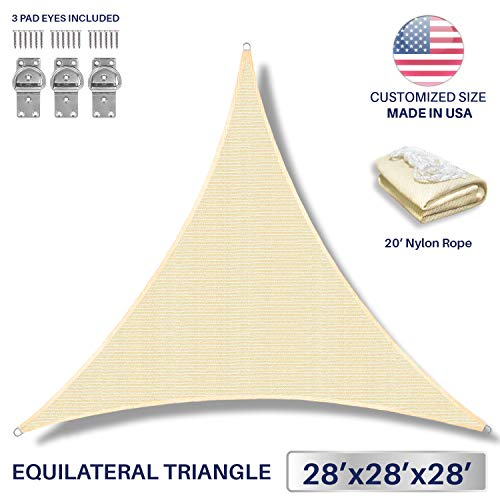 Windscreen4less 28 x 28 x 28 Triangle Sun Shade Sail – Beige Durable UV Shelter Canopy for Patio Outdoor Backyard with Free 3 Pad Eyes – Custom Size