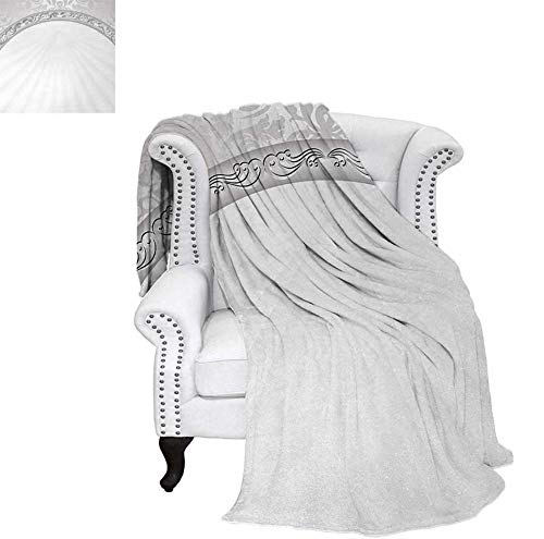 Throw Blanket Curvy Band with Abstract Baroque Ornaments Victorian Vintage Corner Framework Velvet Plush Throw Blanket 70
