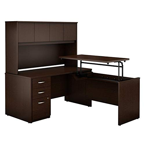 Bush Business Furniture Series C Elite 60W x 30D 3 Position Sit to Stand L Shaped Desk with Hutch and 3 Drawer File Cabinet in Mocha Cherry