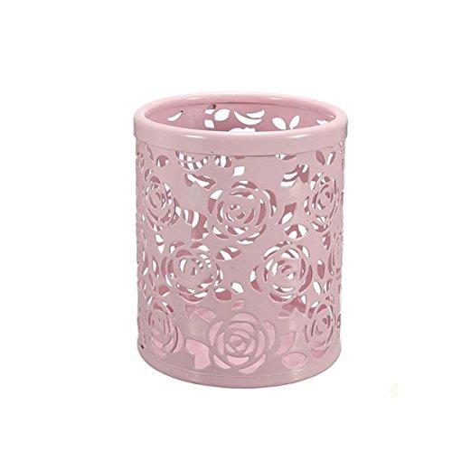 Pink Rose Pattern (Saim Multi-Color Hollow Rose Flower Pattern Cylinder Pen Pencil Pot Holder Container Organizer (Pink))