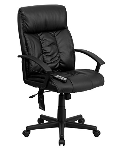 Offex BT-9578P-GG High Back Massaging Executive Office Chair, Black Leather
