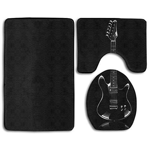 YGUII Bathroom Rug Mats Set 3 Piece, Black Guitar Print Non-Slip Bath Rugs + Toilet Seat Cover + Contour Mat
