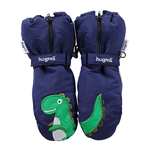 Hugmii 2018 New Winter Snowproof Waterproof Warm Adjustable Extended Cuff with Zipper Gloves (Navy, Medium)