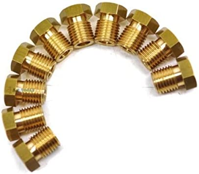 """Brass Brake Pipe Fittings 3//8/"""" x 24 UNF Male 10 PACK for 3//16/"""" Pipe FL10"""