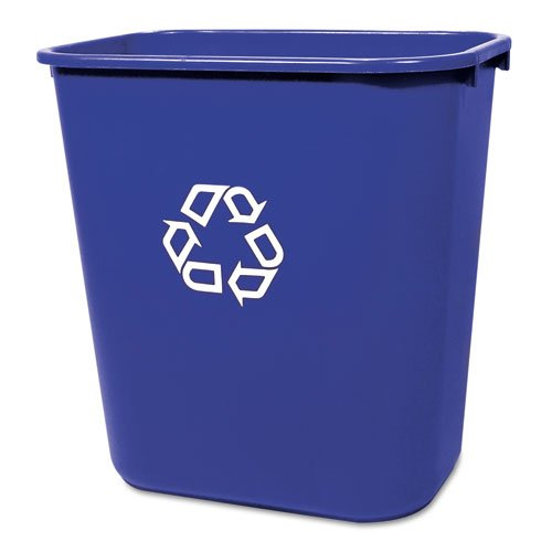 (Rubbermaid Commercial Deskside Recycling Container, Medium, Blue (FG295673BLUE) )