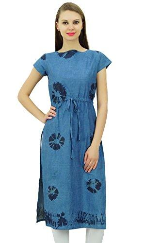 Bimba diseñador de las mujeres del dril de algodón del lazo y del tinte recta Cintura Kurti larga tapa de la túnica con el lazo Azul
