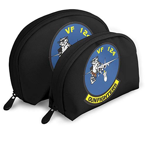US Navy VF-124 Gunfighters Squadron Girls Portable Shell Makeup Pouch Storage Bag Toiletry Organizer ()