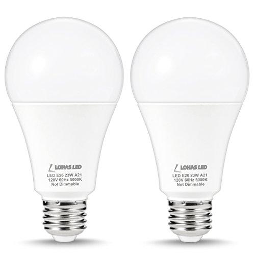 LOHAS A21 LED Light Bulb, 150-200 Watt Equivalent, 2500 Lumens, E26 Medium Screw Base, Daylight White 5000K, 23W LED Lamp for Home Lights, Ceiling Lighting, Pedant Fixtures, Not Dimmable, 2 Packs