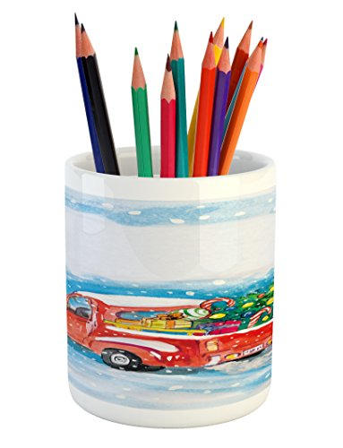 Ambesonne Christmas Pencil Pen Holder, Vintage Red Truck in