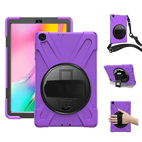 Galaxy Tab A 10.1 2019 Case for Kids,TSQ 360 Stand& Handle Hand Strap & Shoulder Strap with Rugged Full Body Protective Rubber Silicon Plastic Case for Boys Gilrs for Tab A 10.1 Inch Tablet Purple