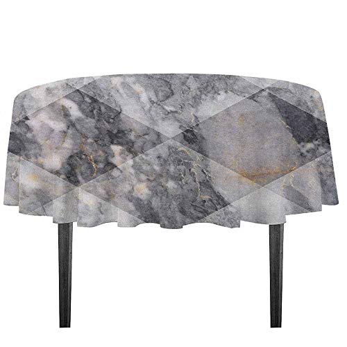 (kangkaishi Marble Waterproof Anti-Wrinkle no Pollution Geometric Diamond Shaped Grunge Granite Rock Facet Forms Ceramic Abstract Print Outdoor Picnic D43.3 Inch Pale Grey)
