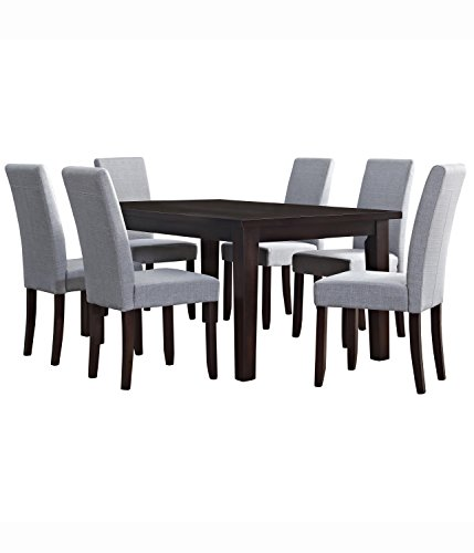 Simpli Home 7 Piece Acadian Dining Set, Dove Grey Linen