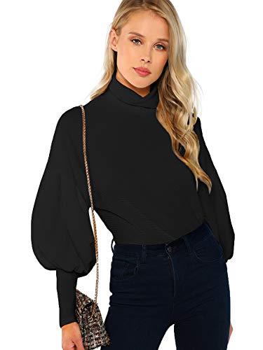 ROMWE Women's Casual High Neck Pullover Tops Long Sleeve Sweatshirt Black L