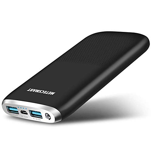 (Portable Charger 10000mAh Quick Charge 3.0 Alongza Cell Phone Battery Charger External Battery Pack Power Bank Compatible with iPhone Xs XR X 8 7 6 iPad Samsung Galaxy S9 S8 S7 & Android Phones,Black)