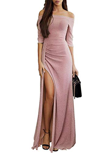 Off The Shoulder High Slit Elegant Evening Party Prom Cocktail Sprakling Shiny Half Sleeves Maxi Floor Dresses X-Large (US 16-18) L-pink