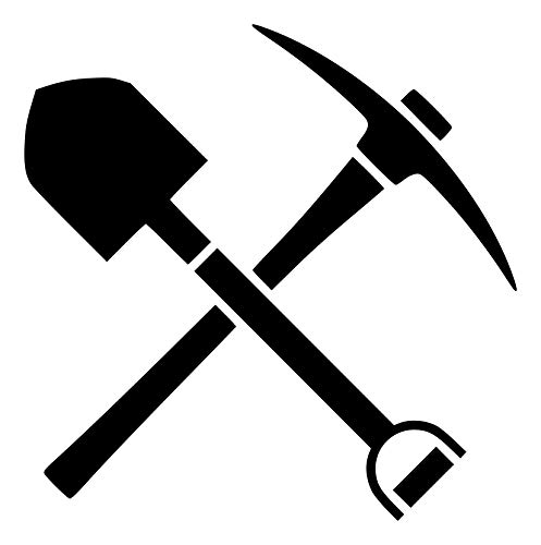 "- Gold - Crossed Shovel and Pick Axe 8"" x 8"" Vinyl Sticker - Mining Pickaxe Expedition - 20 Color Options"