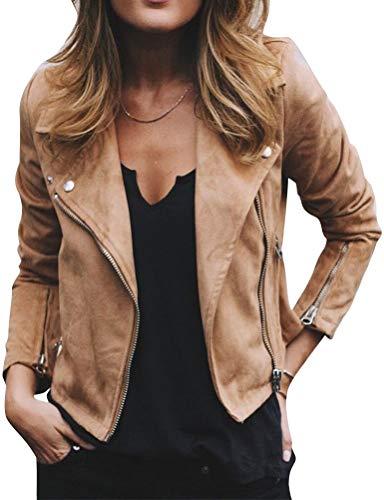 (WLLW Women Lapel Neck Long Sleeve Zip Front Cropped Jacket Bomber Coat Outerwear)