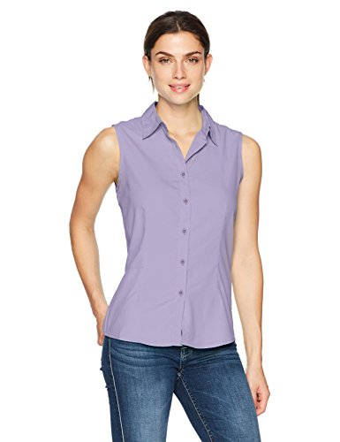 White Sierra Gobi Desert Sleeveless Shirt, Lavender, Medium (Zip Pocket Button)