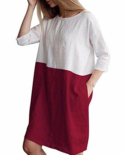 - HIUPEB Women's Plus Size 3/4 Sleeve Loose Cotton Linen Top Shirt Dress Wine Red L