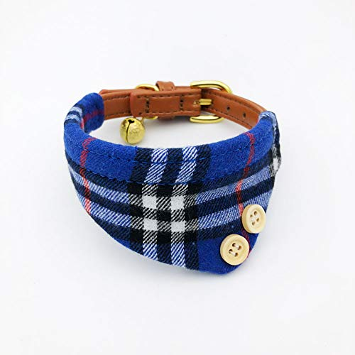 PetFavorites Bowtie Small Dog Cat Collar with Bell - Plaid Bandana Collar for Puppy Kitten - Teacup Yorkie Chihuahua Clothes Costume Outfits Accessories, 8.7 to 11-Inch (Dark Blue Plaid Bandana)