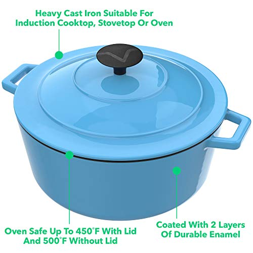 Vremi Iron Dutch Lid - 6 Capacity Preparing Low and Cooking - Top Compatible Deep Blue
