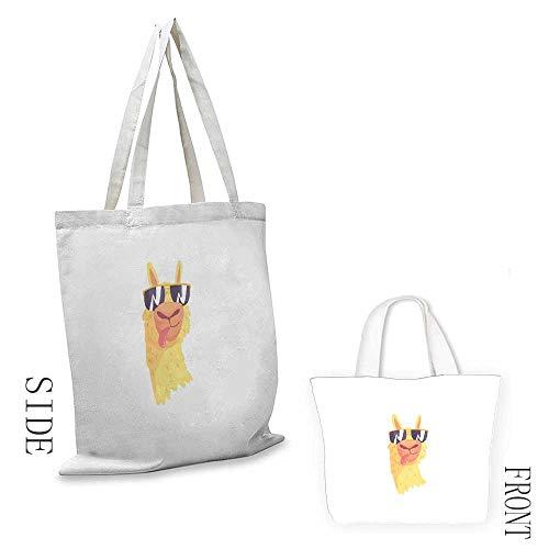 (Simple casual handbag Llama Funny Sunglasses Wearing Farm Animal Cartoon Character South American Mascot Design Canvas zipper 16.5