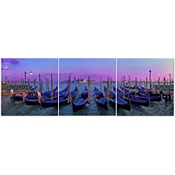 Canvas Wall Art Decor - 24x24 3 Piece Set (Total 24x72 inch)- Sunset Over Venice Italy - Large Decorative & Modern Multi Panel Split Canvas Prints for Dining & Living Room, Kitchen, Bedroom & Office