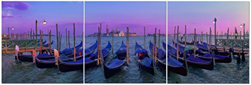(Canvas Wall Art Decor - 24x24 3 Piece Set (Total 24x72 inch)- Sunset Over Venice Italy - Large Decorative & Modern Multi Panel Split Canvas Prints for Dining & Living Room, Kitchen, Bedroom & Office)