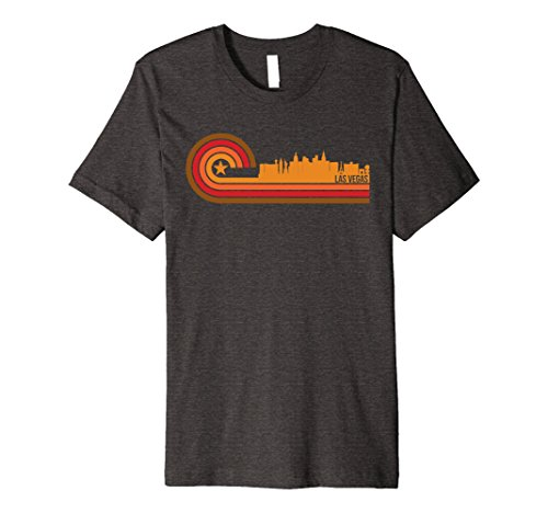Mens Retro Style Las Vegas Nevada Skyline T-Shirt Large Dark Heather