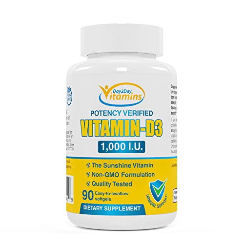 Vitamin D3 Supplement by Day2Day Vitamins Premium Quality 1000 I.U. Promotes Healthy and Strong Vision, Teeth, Bones, Muscles and Strong Immune System Health, 60 Soft Gel Capsules