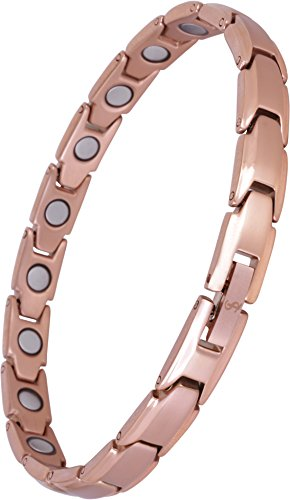 Elegant Womens Magnetic Therapy Anklet Arthritis Pain Relief & Inflammation Reduction for Feet and Ankles (Solid Titanium, Rose Gold) ()