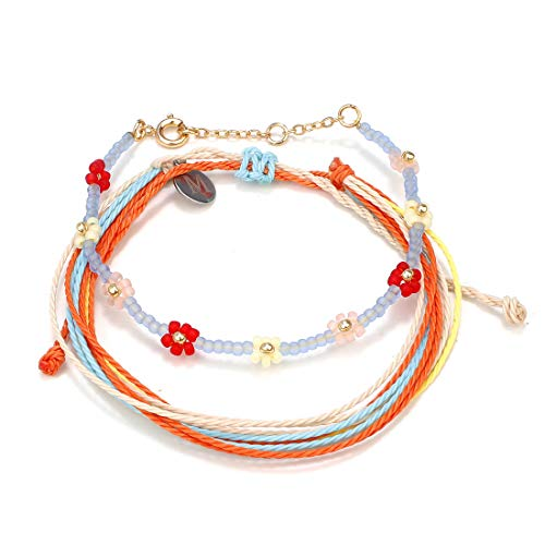 Pengruizhi Handmade 2Pcs Braided Bracelet Weave Charm Beach String Bracelets Friendship,Adjustable Band,Orange