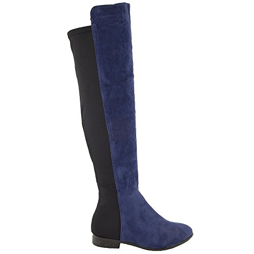 Essex Glam Womens Over The Knee High Elasticated Stretch Zip Tall Flat Ladies Boots Size 3 4 5 6 7 8 Navy Faux Suede Yuvqs7HCv