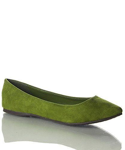 Suede Flats Pointed Faux Toe Women's Ballet Suede Olive Z0BAx6qn